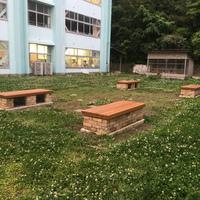 二宮町エクステリア工事 山西小学校様外構工事 かまど ウッドベンチ  のサムネイル